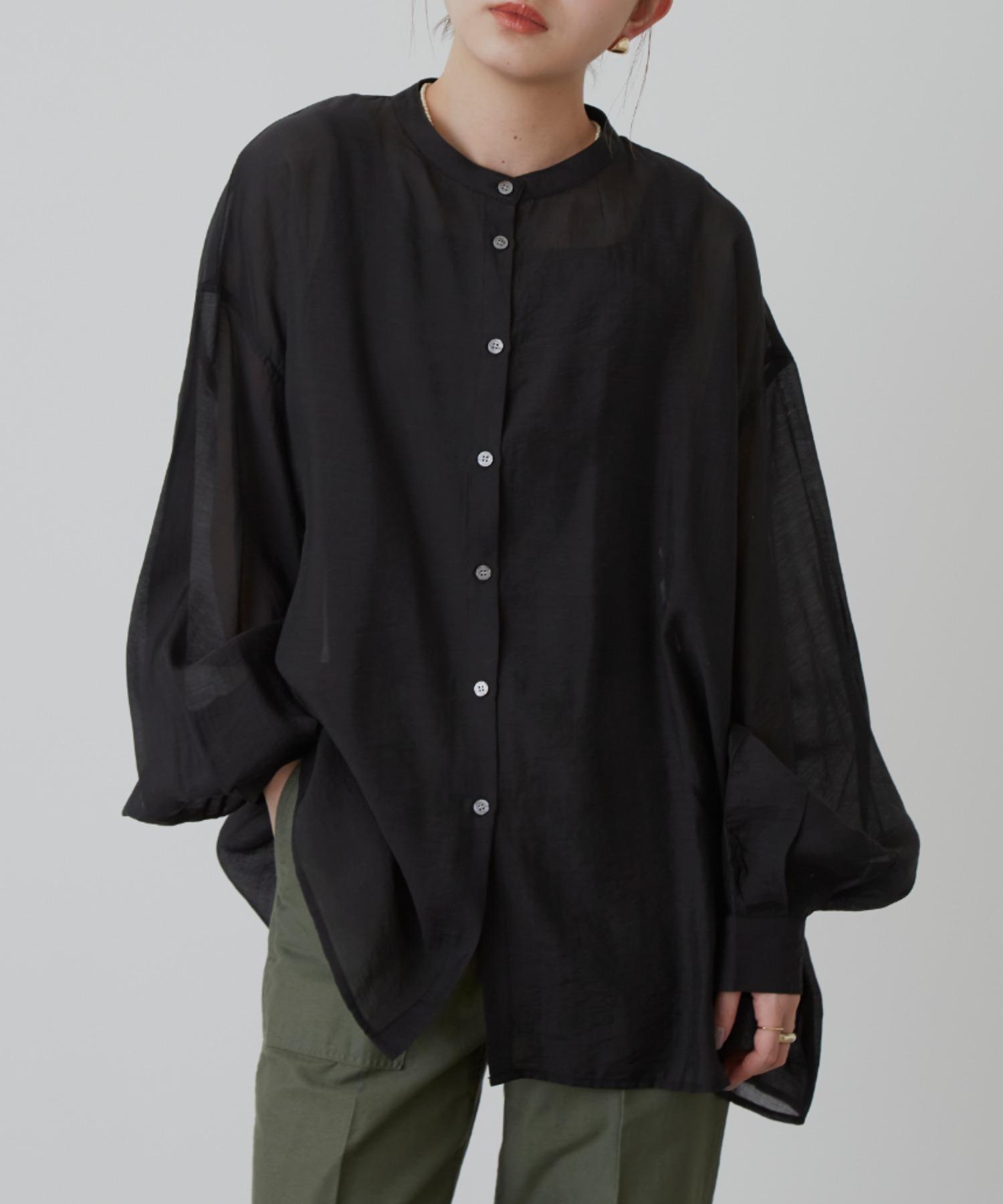バルーンスリーブシアーシャツ/BLK