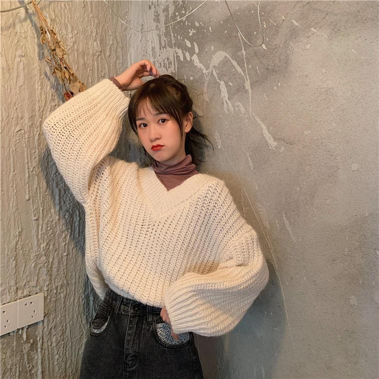 【送料無料】 小顔魅せ♡ Vネック プルオーバー ゆる ニット トップス ボリューム袖 シンプル カジュアル