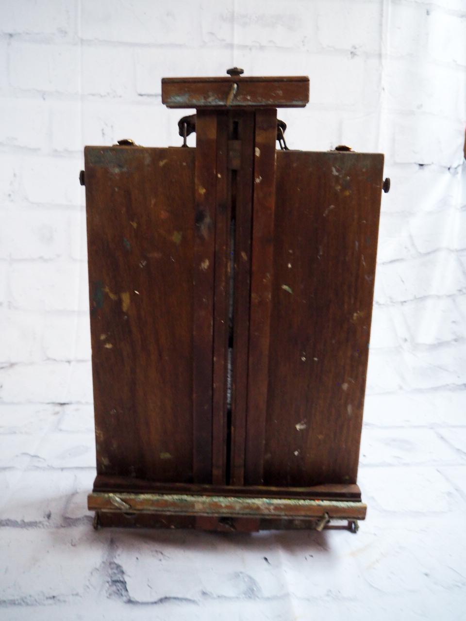 品番4835 アーティストスタンド GRUMBACHER スケッチ ボックス 道具箱 絵画用三脚 木製 イーゼル アメリカン アンティーク