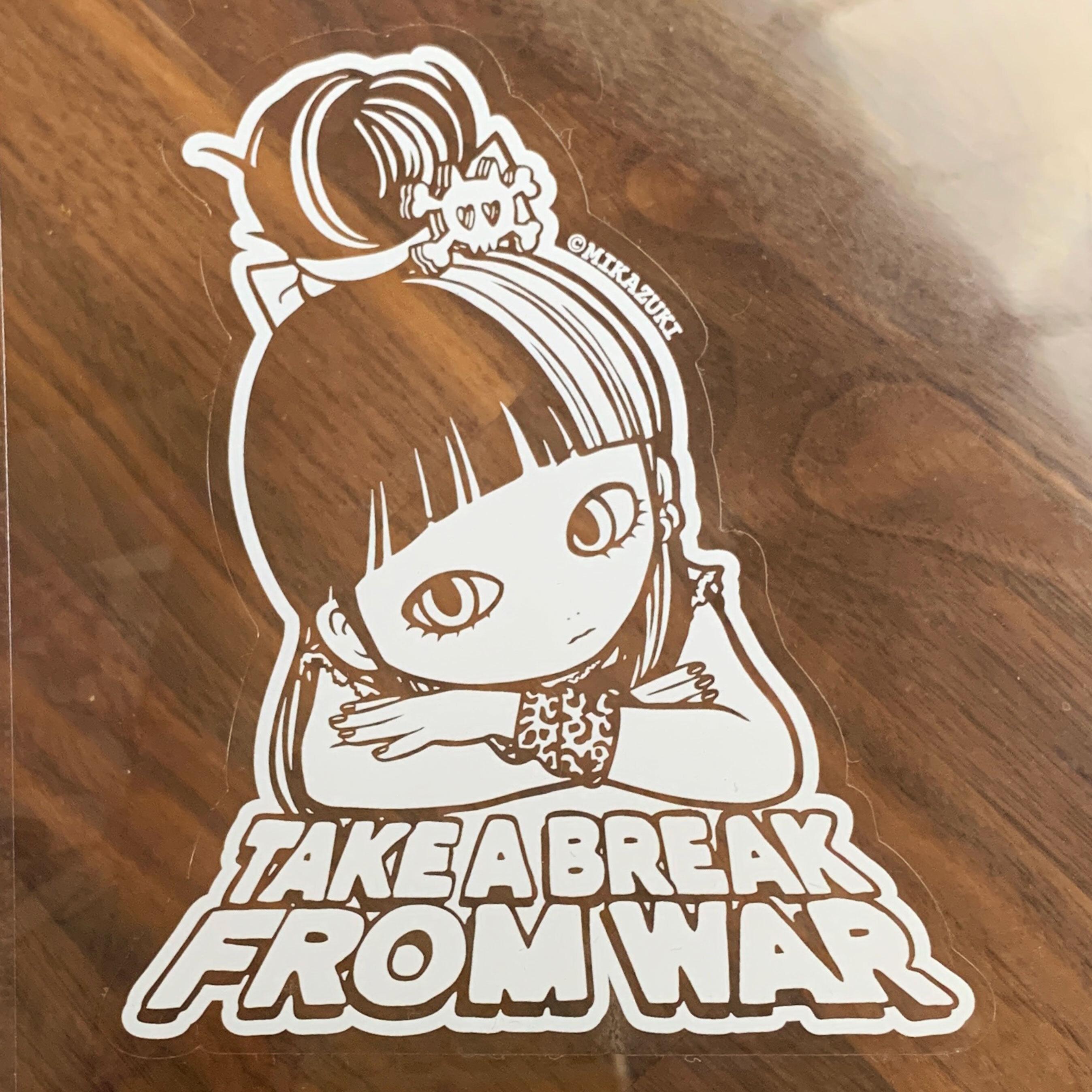 "TAKE A BREAK "" face "" クリアステッカー  屋外用 耐水 MIKAZUKI"