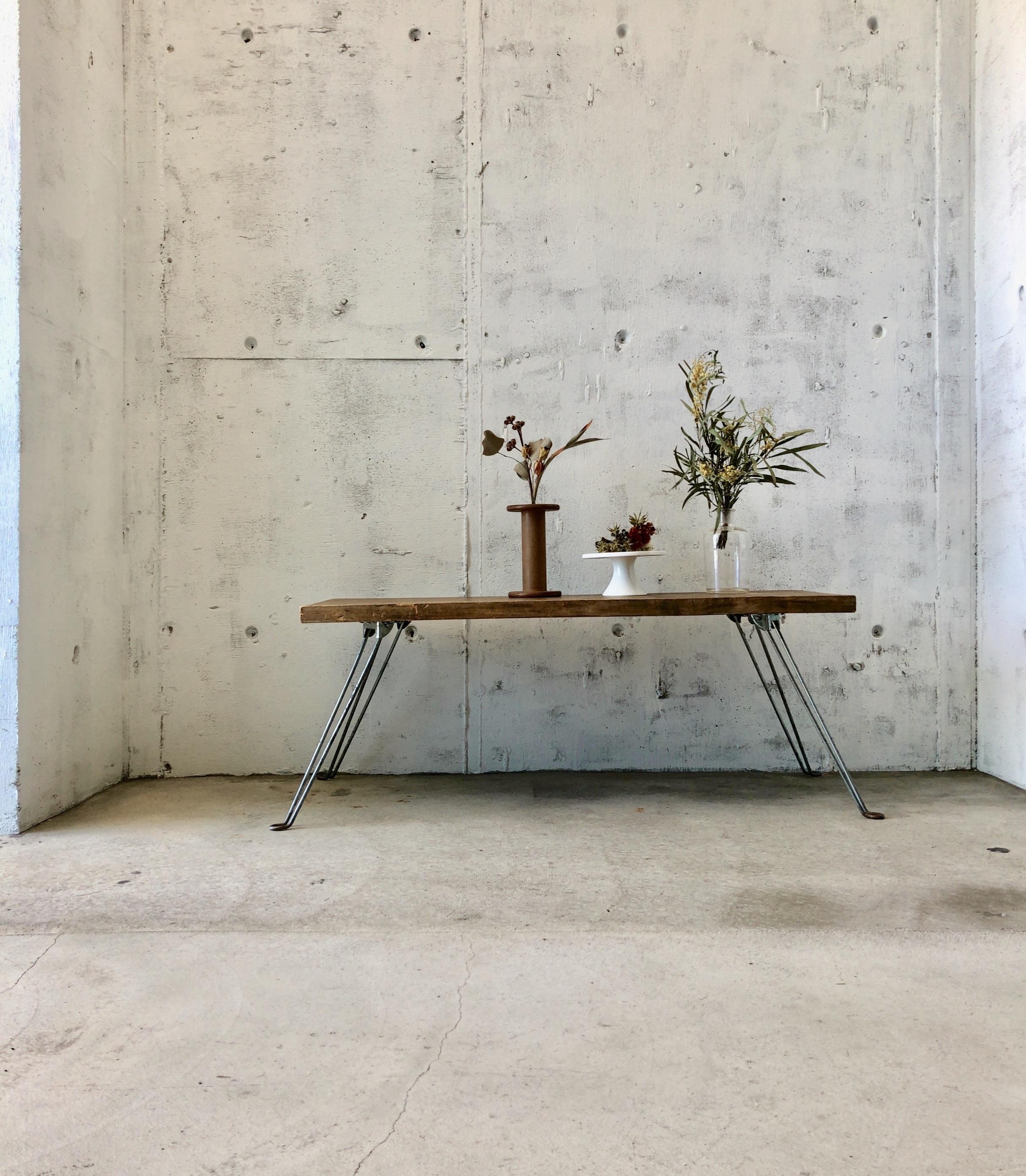 古材×サビ脚のローテーブル[古家具]