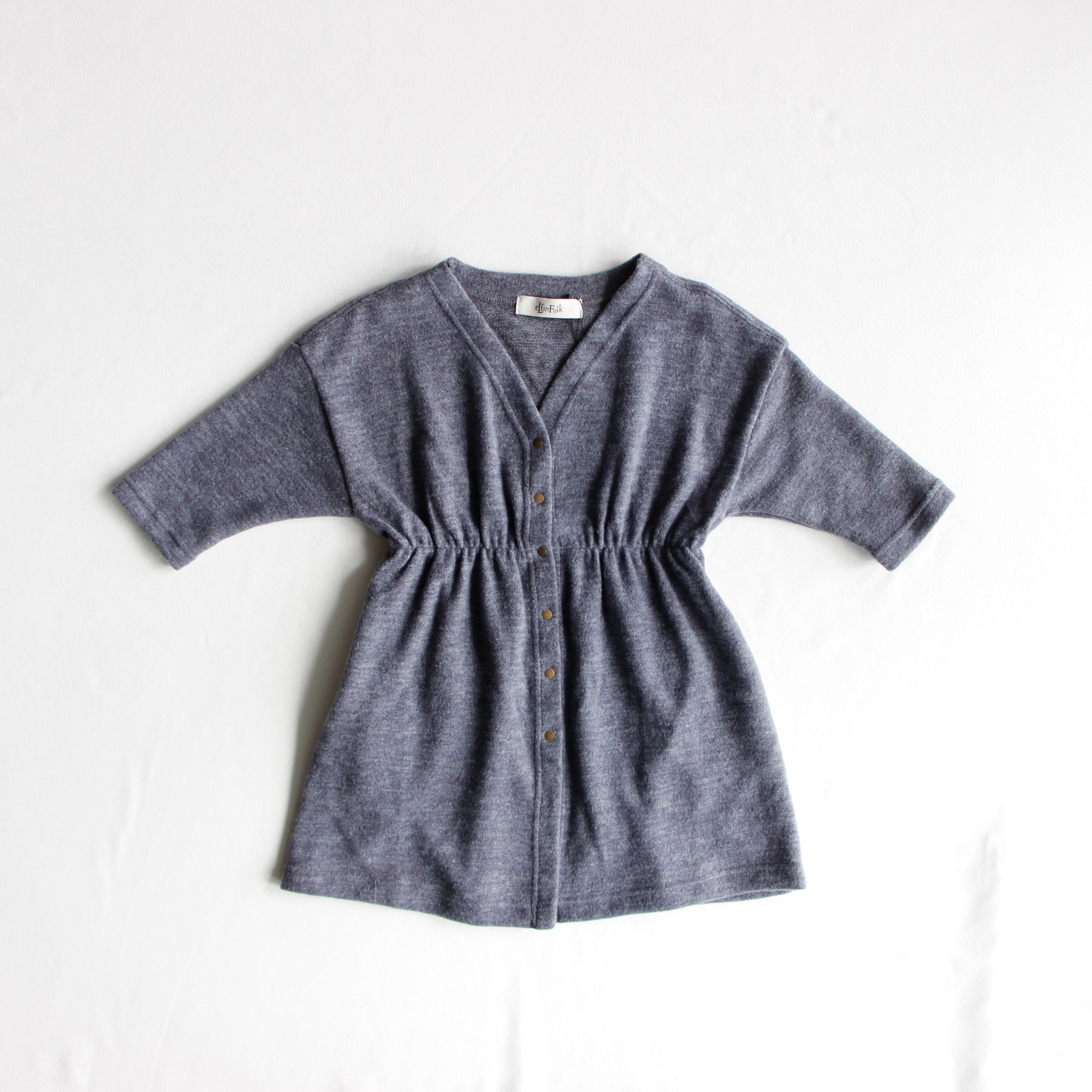 《eLfinFolk 2018AW》melange gown dress / gray / 110・130cm