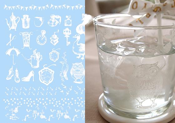 ガラス用 ガーリーアンティーク ホワイト(ポーセリンアート用転写紙)