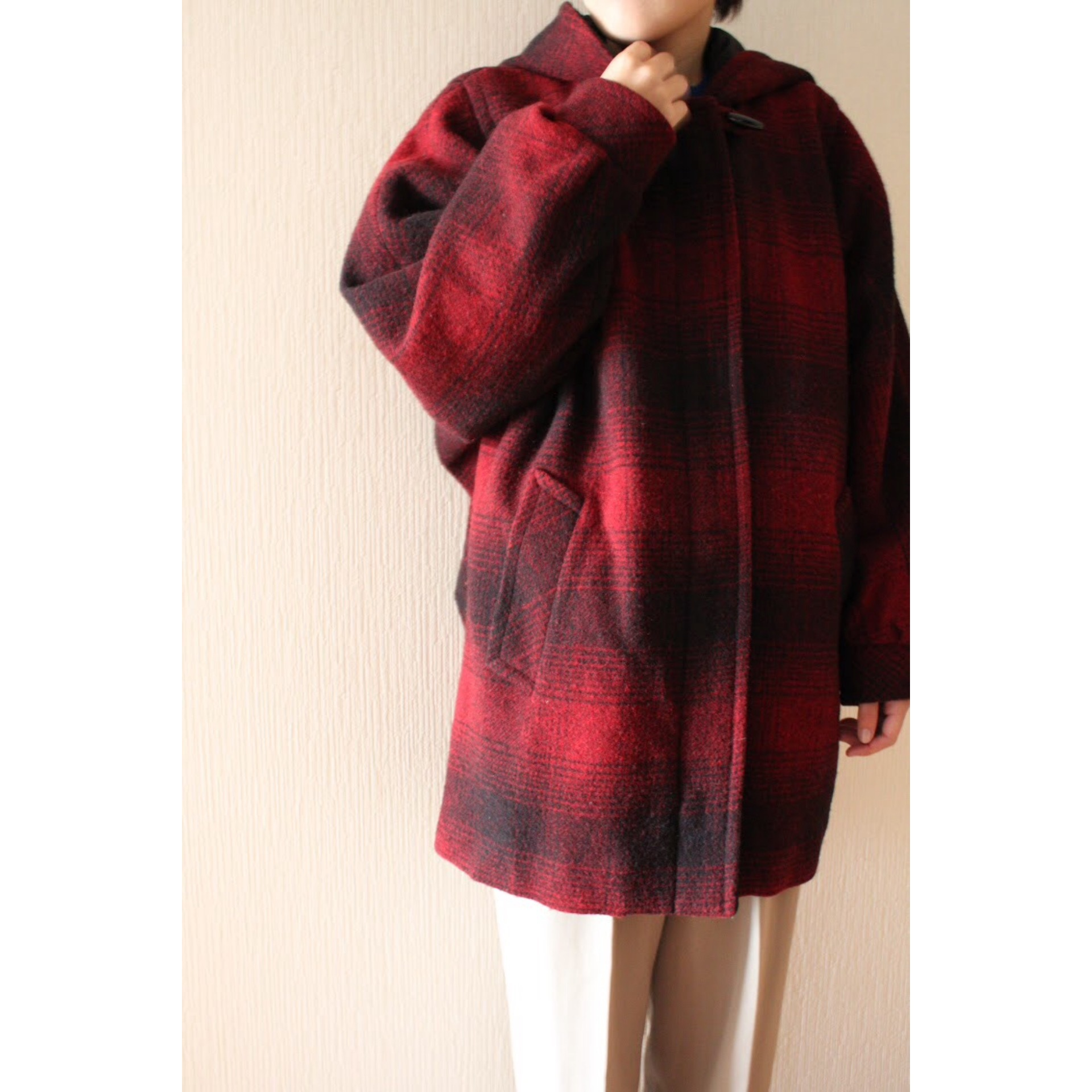 Vintage shadow check hooded coat by Mackintosh
