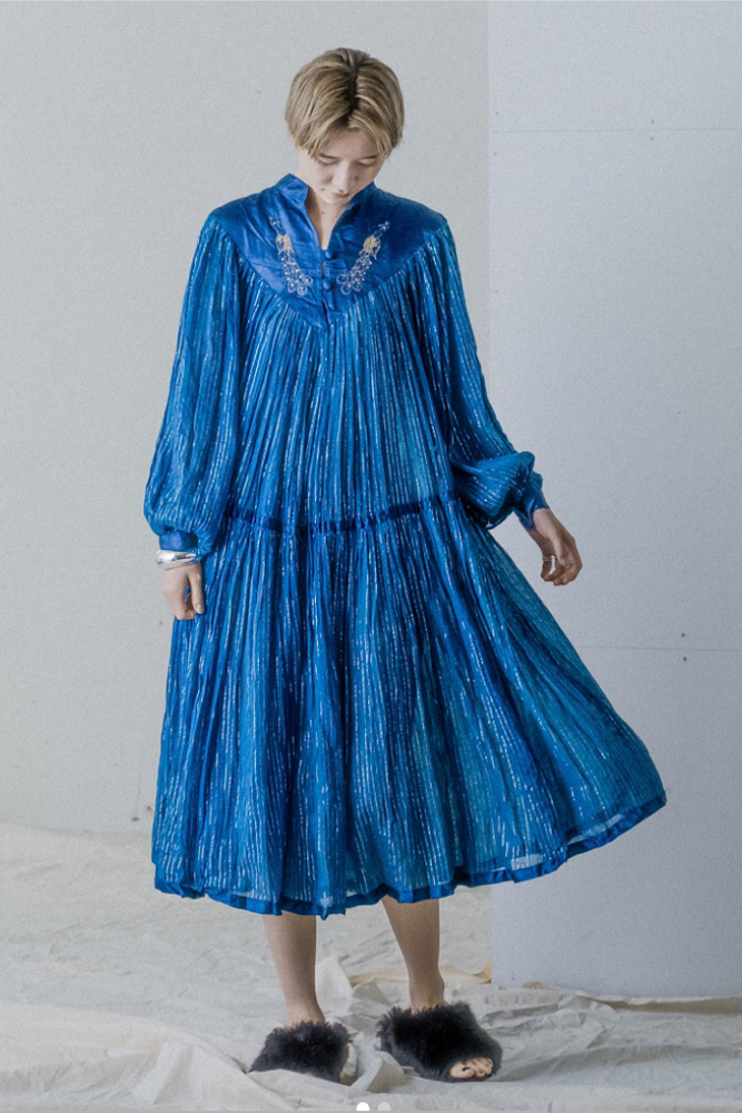 Indian Cotton Folklore Ink Blue Dress