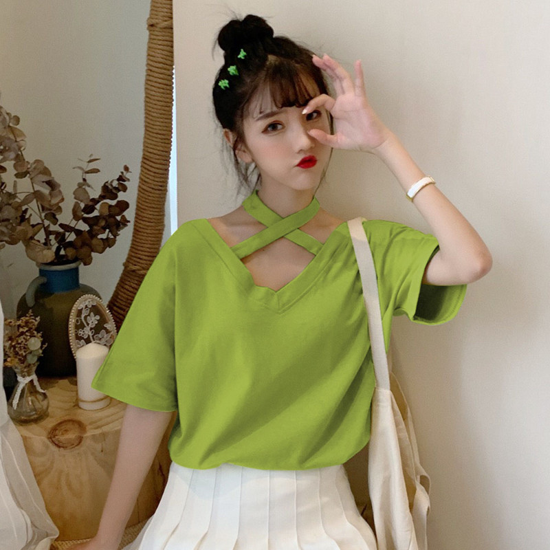 【tops】Vネック無地ファッションTシャツ20519493