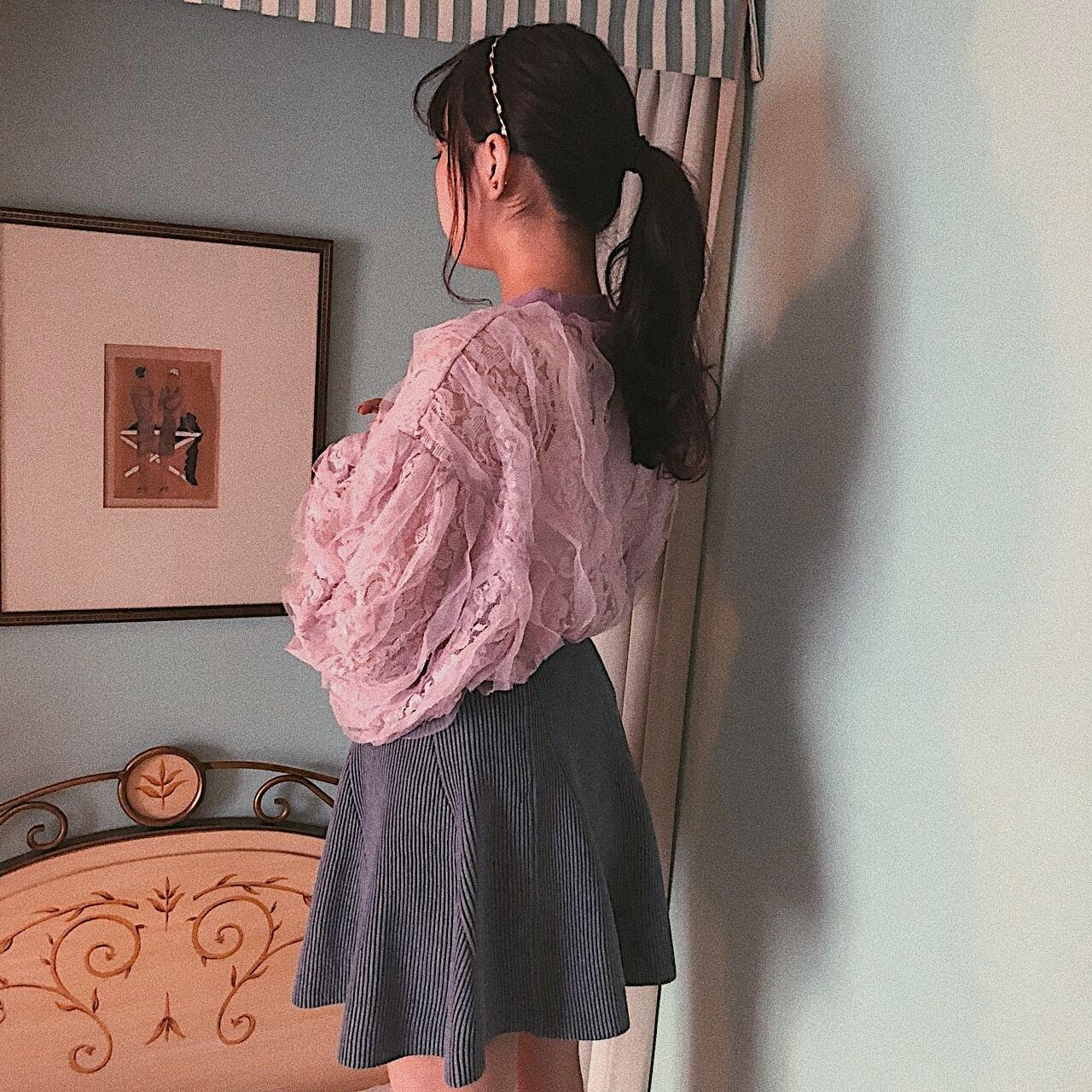 ♡lace frill sweatshirt (pink)