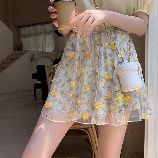 color flower flare skirt