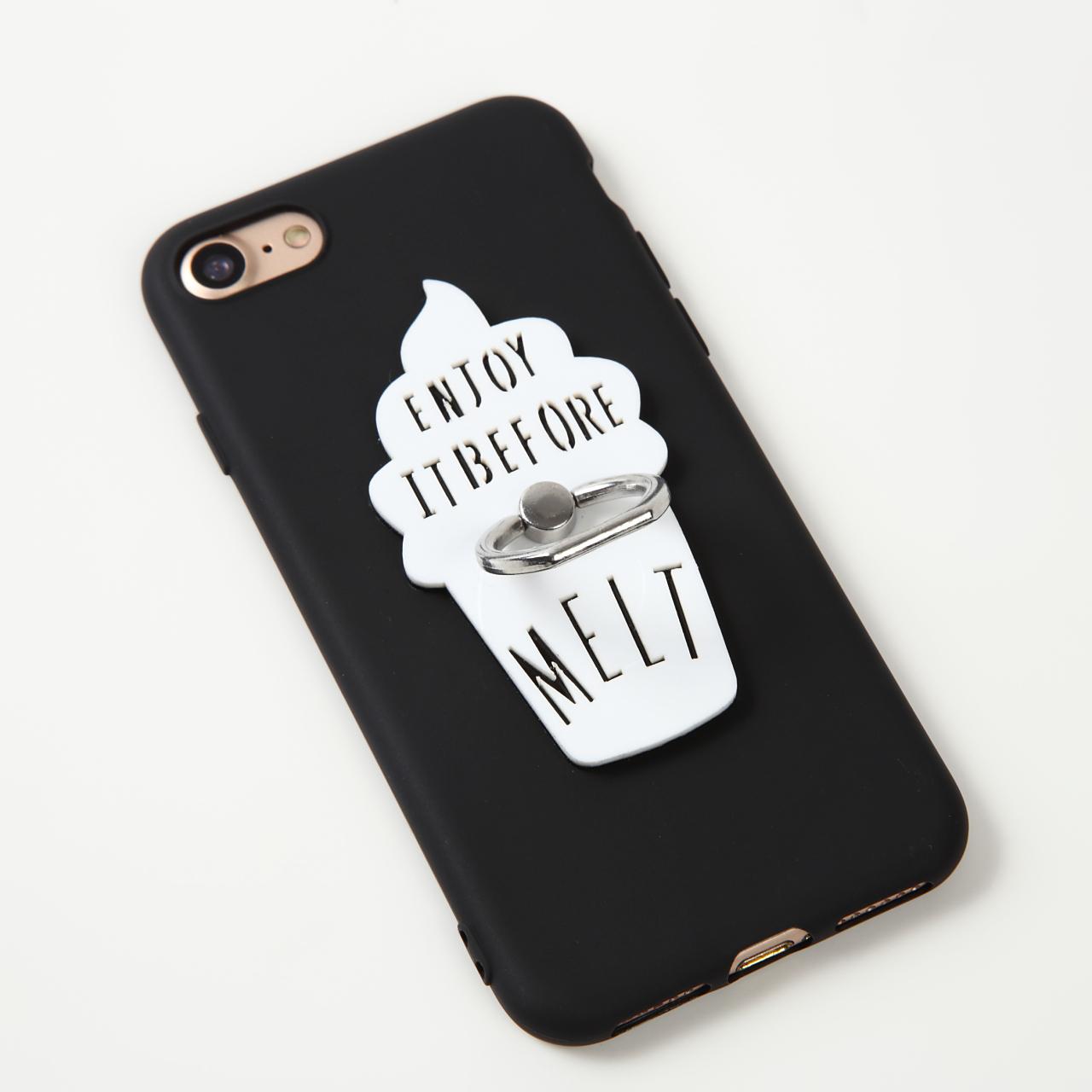【即納★送料無料】ブラックソフトケースにソフトクリーム落下防止リング付iPhoneケース