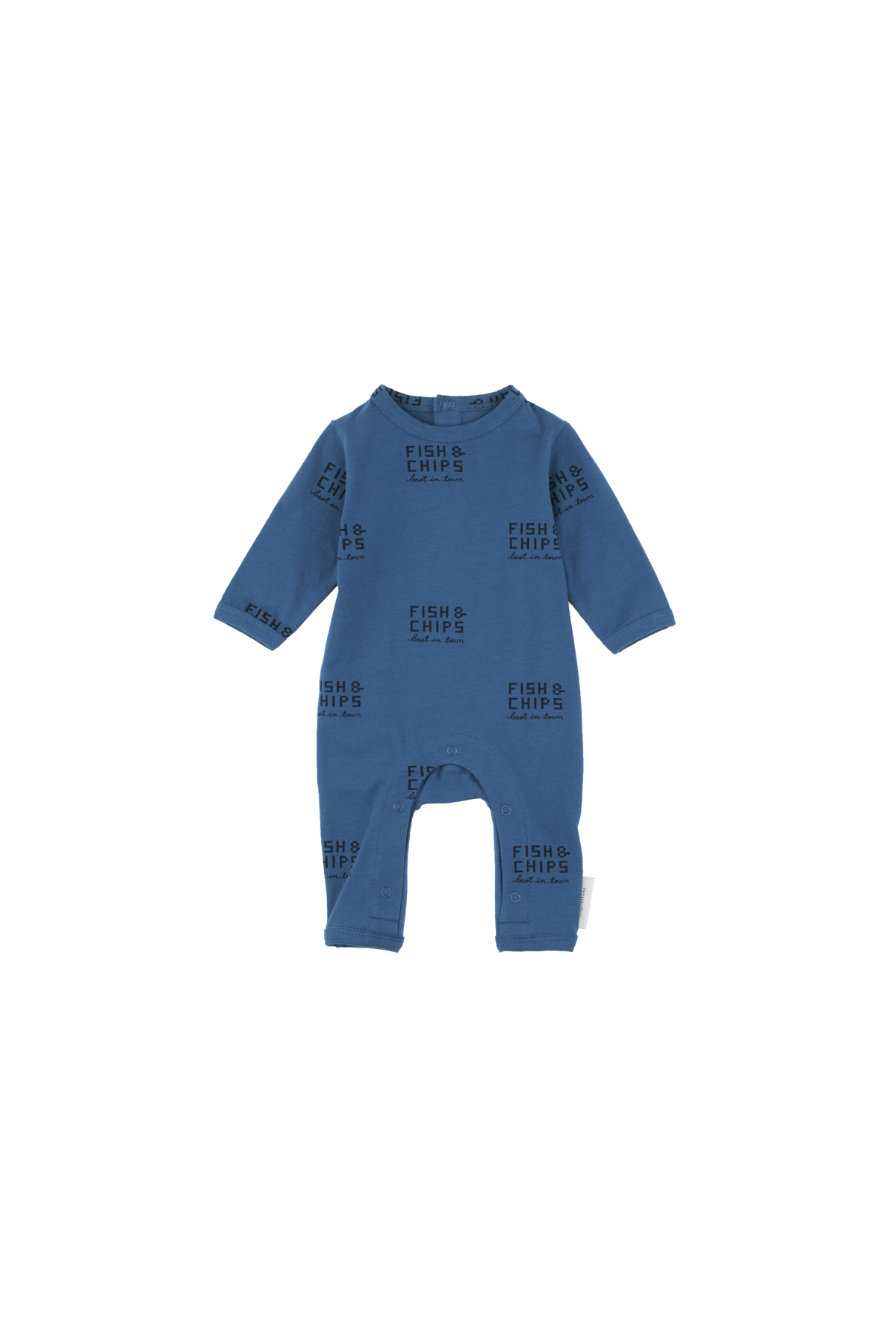 《tinycottons 2018AW》fish and chips ls one-piece / light navy × navy / 6-12M