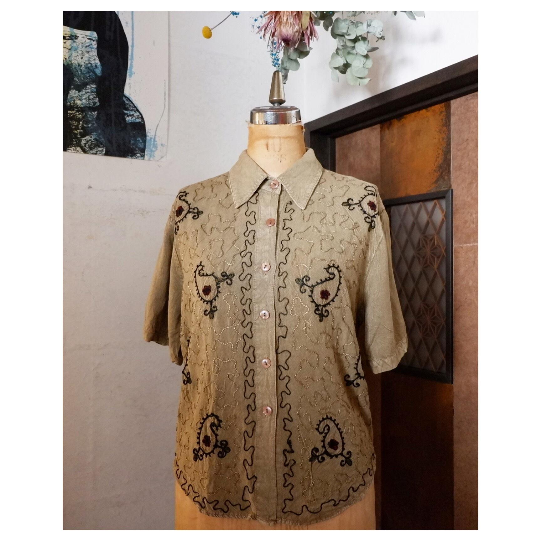 アメリカ古着 Indian rayon 刺繍 ブラウス