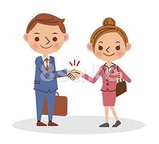 イラスト素材:握手をするビジネスマン/若い男性と女性(ベクター・JPG)