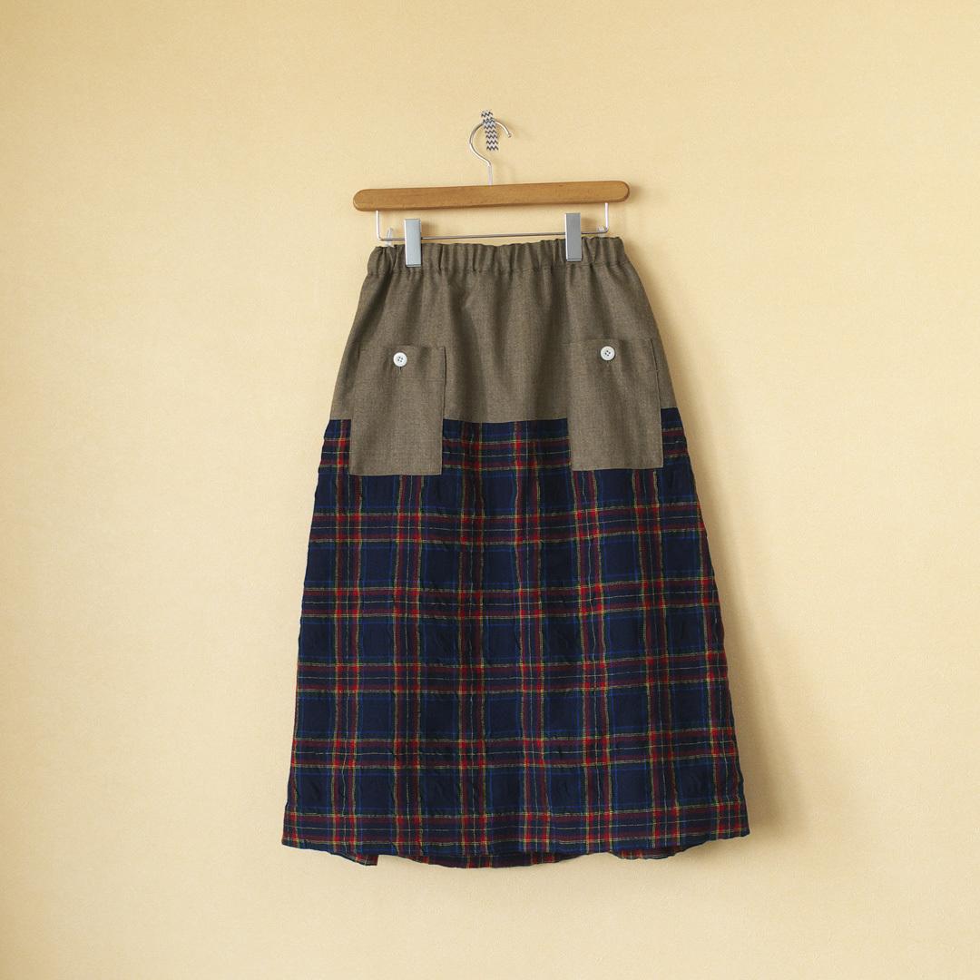 快晴堂 カイセイドウ タータンチェックフォーエバー サージ切替スカート・ネイビータータン