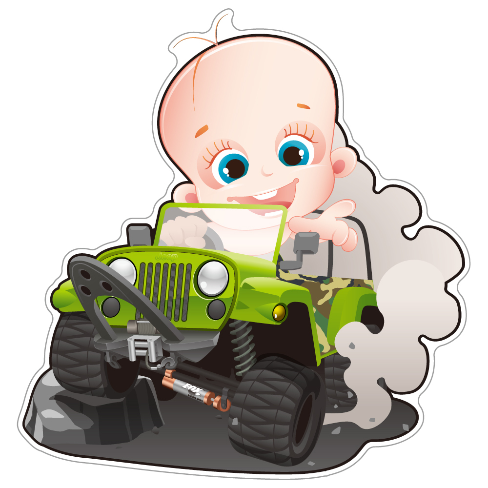"""124 Baby in Jeep! """"California Market Center"""" アメリカンステッカー スーツケース シール"""