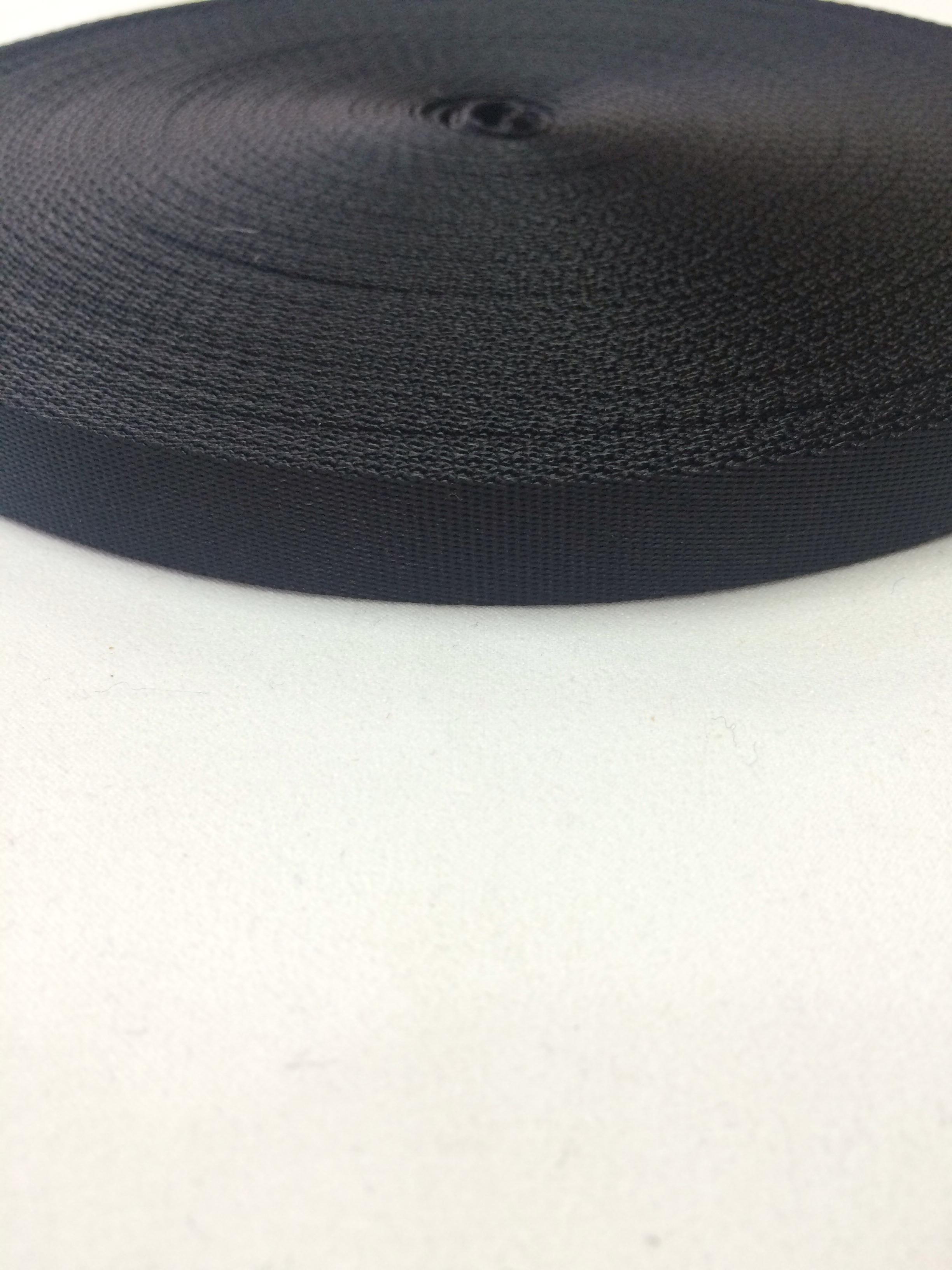 ナイロン  流綾織  20mm幅  1.1mm厚 黒  1m