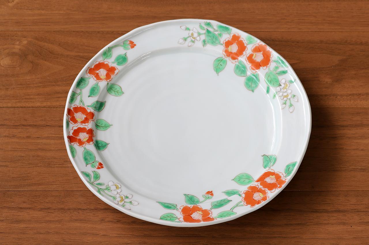 藍水 椿 8寸皿 うつわ藍水 波佐見焼 直径約25cmのプレート