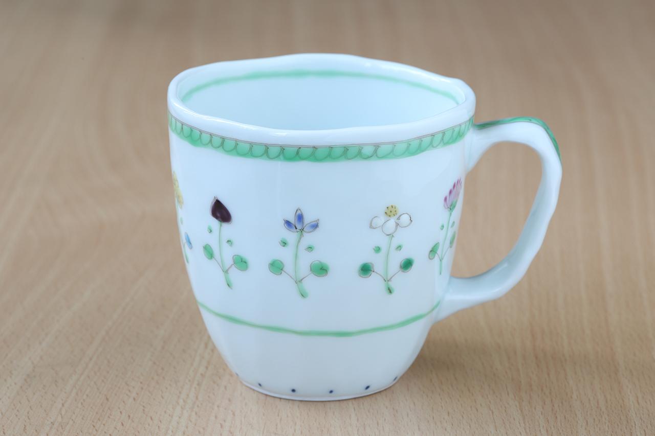 藍水 花暦(緑)マグカップ(大) うつわ藍水 波佐見焼