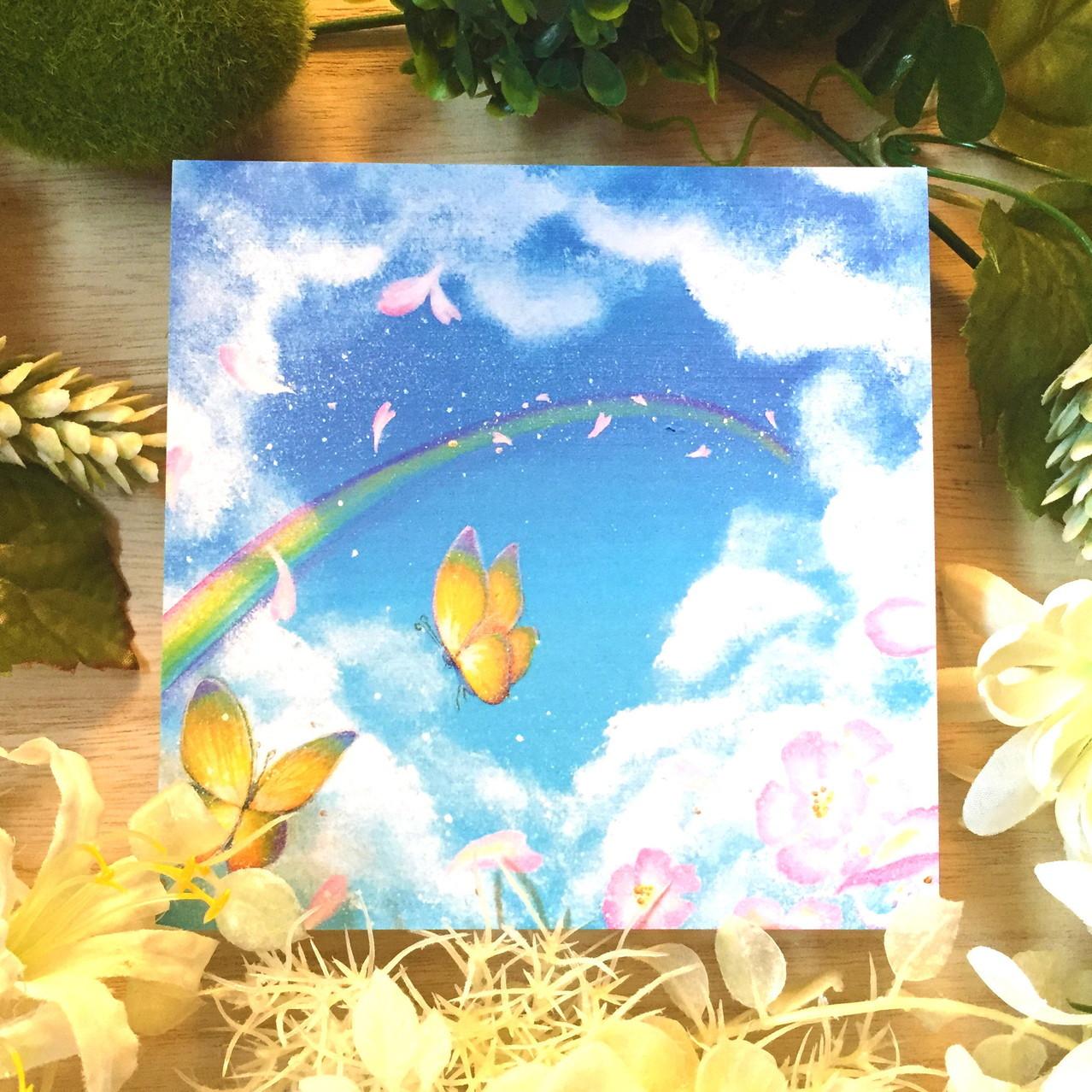 絵画 インテリア アートパネル 雑貨 壁掛け 置物 おしゃれ 空 虹 蝶 アクリル画 パステル画 水彩画 ロココロ 画家 : Satoko Rin 作品 : 約束の空