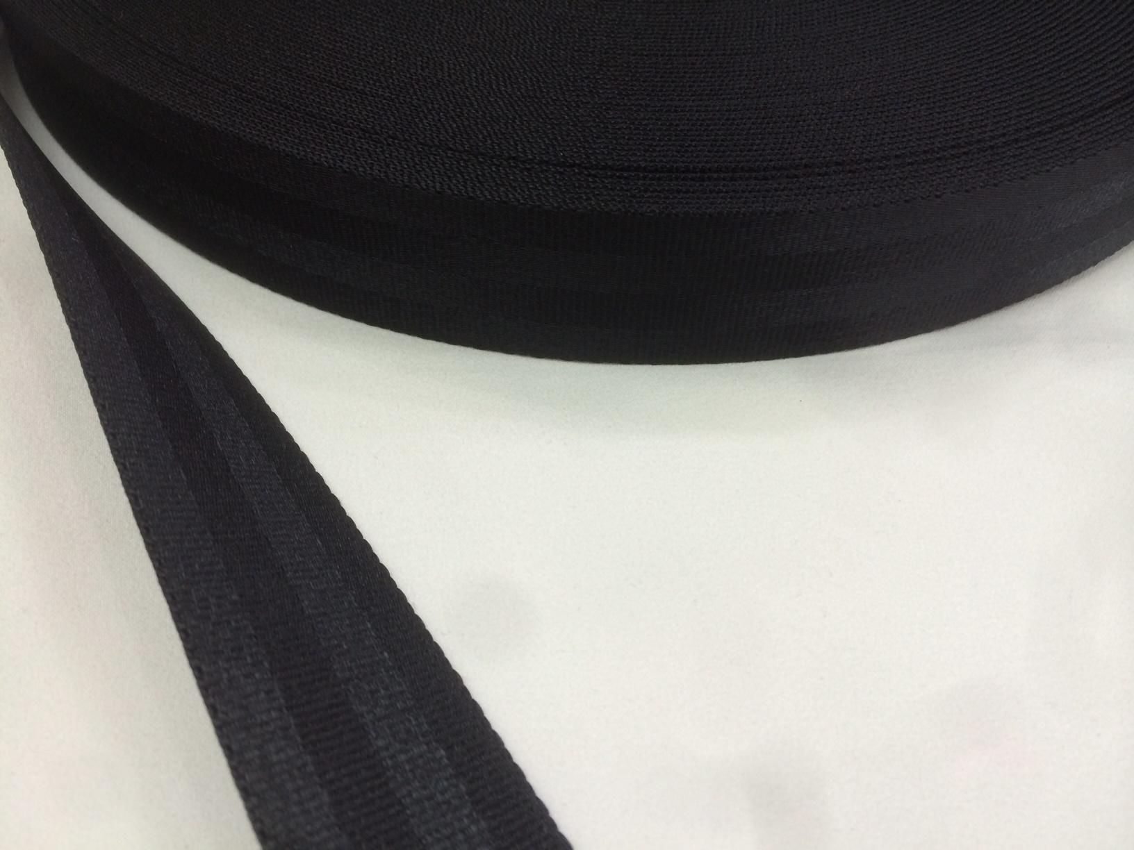 ナイロン ベルト 二つ山織 20㎜幅 1.6㎜厚 黒 5m単位