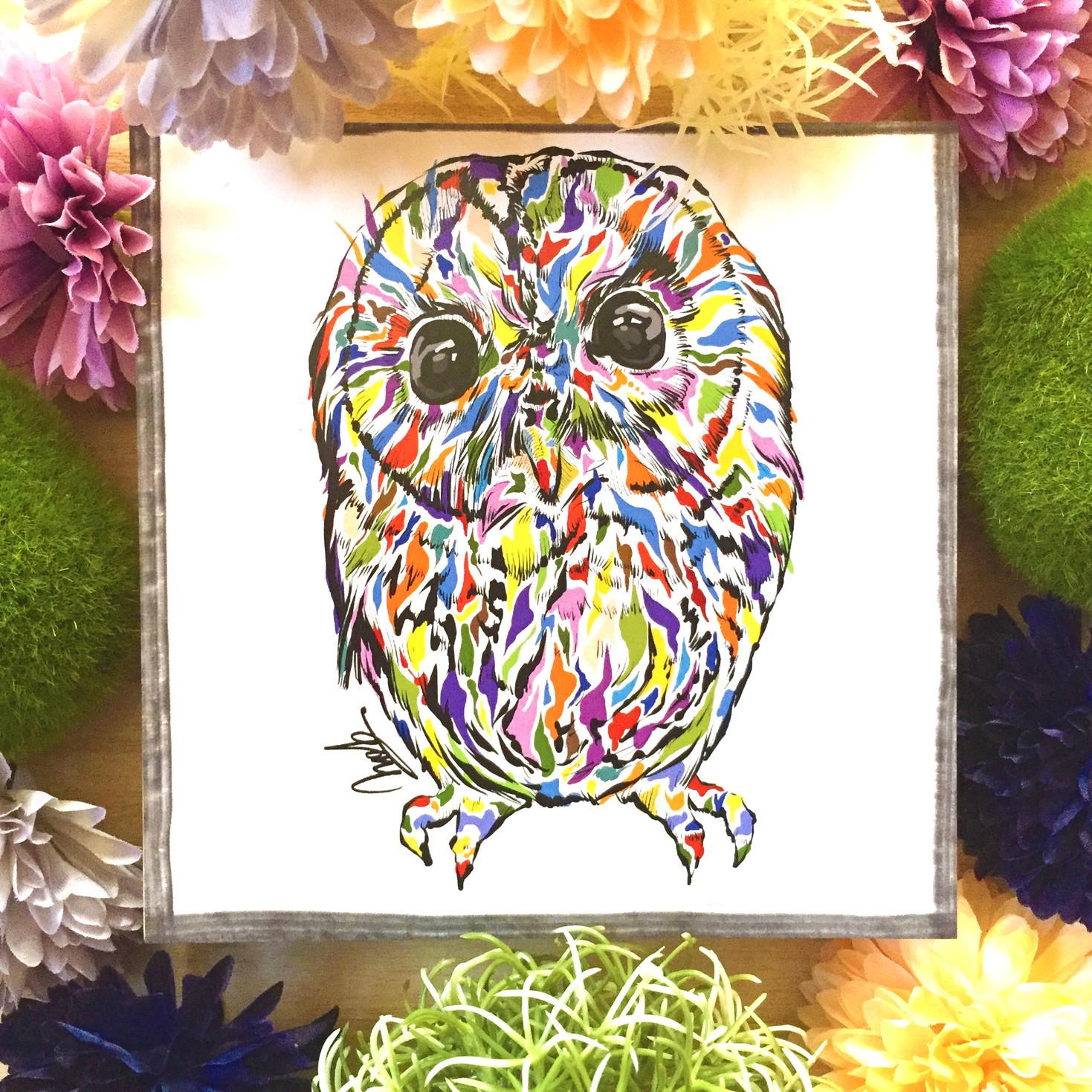 絵画 インテリア アートパネル 雑貨 壁掛け 置物 おしゃれ フクロウ 現代アート ロココロ 画家 : nob 作品 : owl