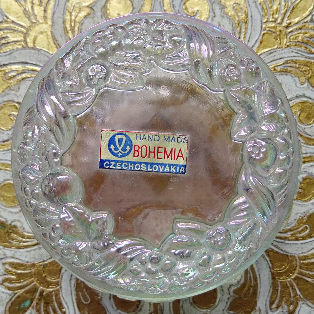 チェコスロバキア ボヘミアガラスのジュエリーポット  / オーロラ