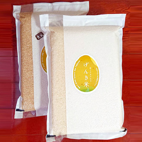 無農薬・有機栽培・富山県産コシヒカリ 玄米4.5kg(30合)、白米4.5kg(30合)真空パック入りセット