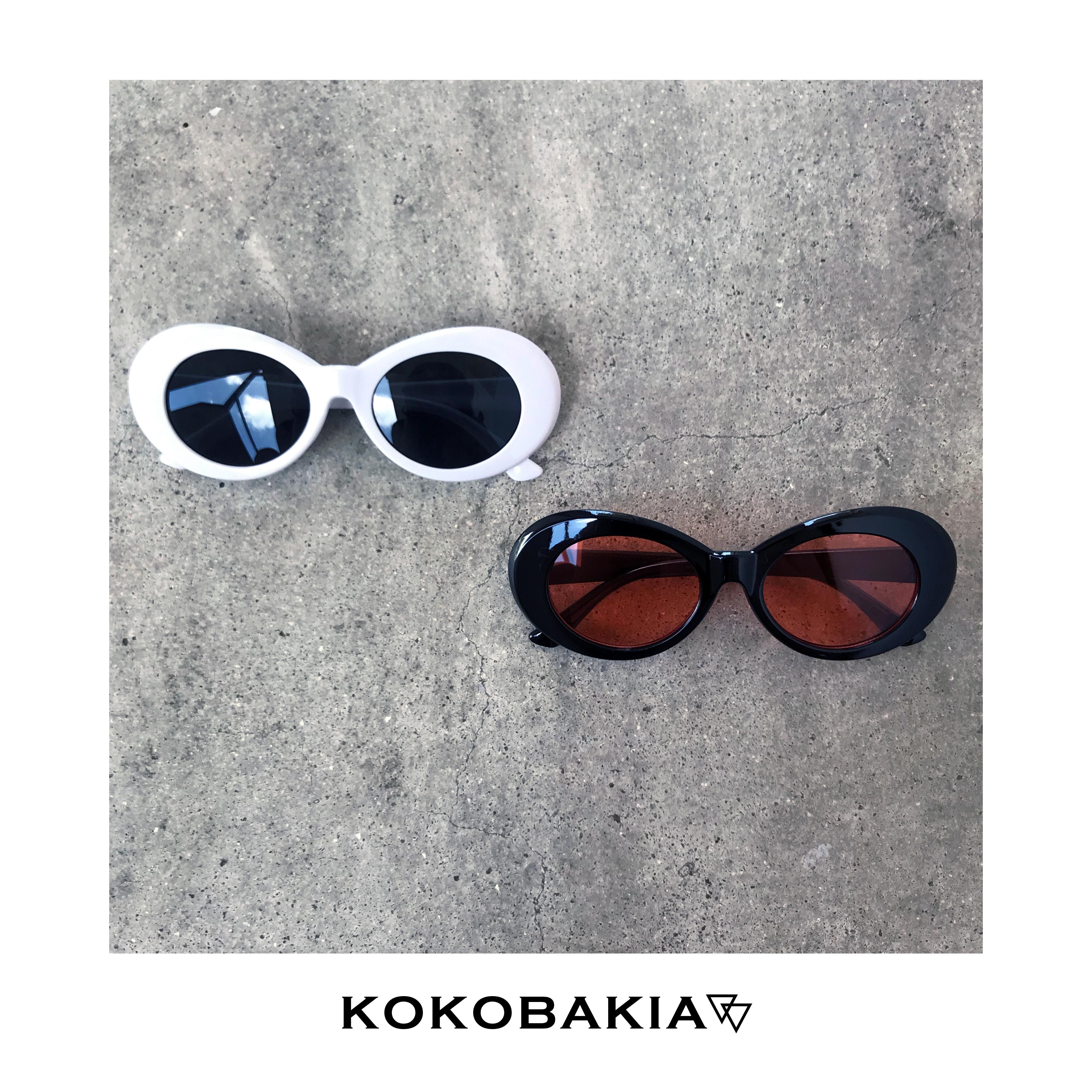 オーバル サングラス 【KOKOBAKIA】 ロゴ入り メンズ レディース #ロックファッション #ストリートファッション