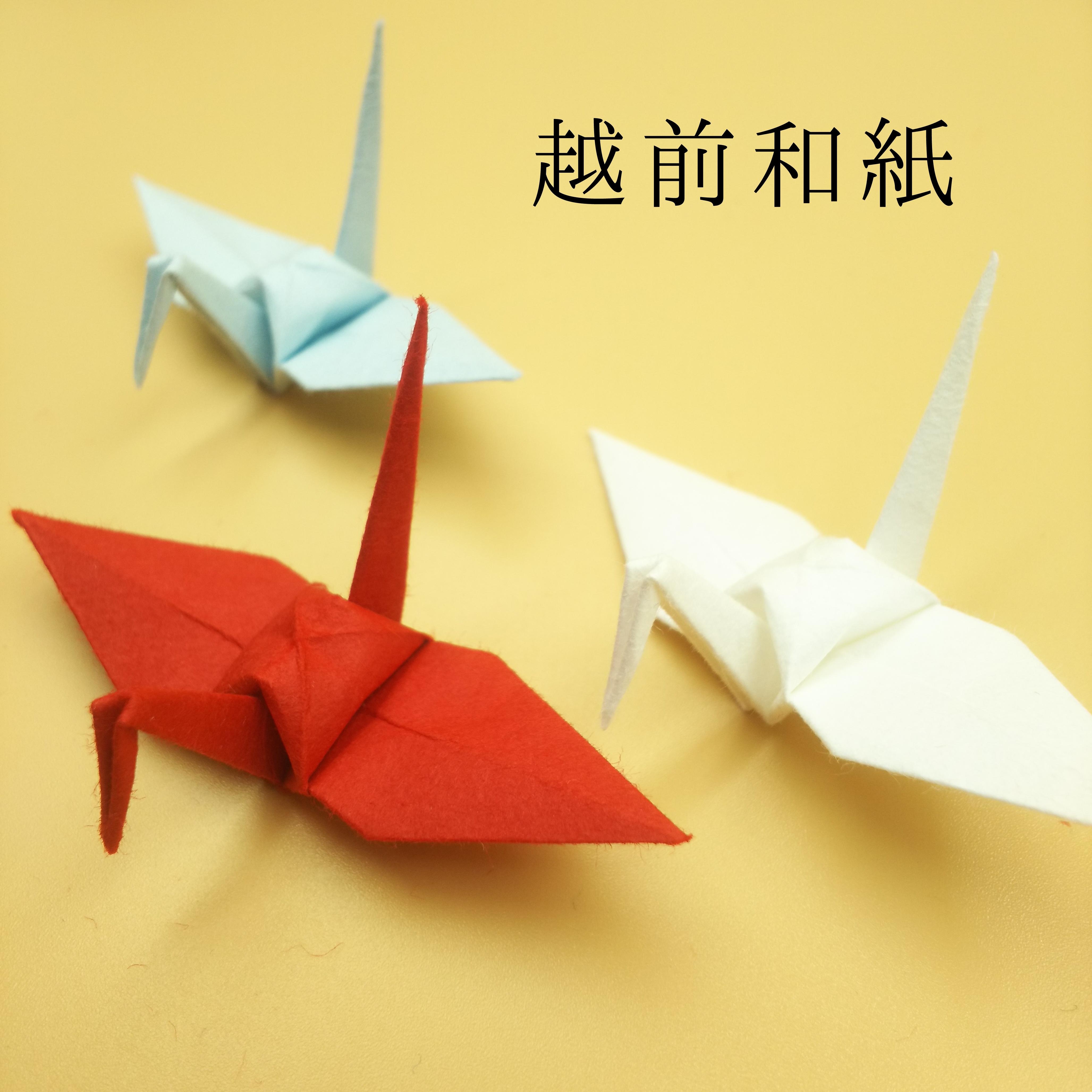 越前和紙による伝統色の折り鶴(神前式、和装婚折り鶴シャワー演出・和風撮影小物) 100羽