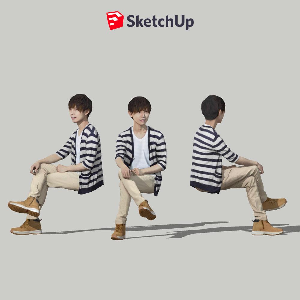 SketchUp素材 3D人物モデル ( Posed ) 035_Toru - 画像1