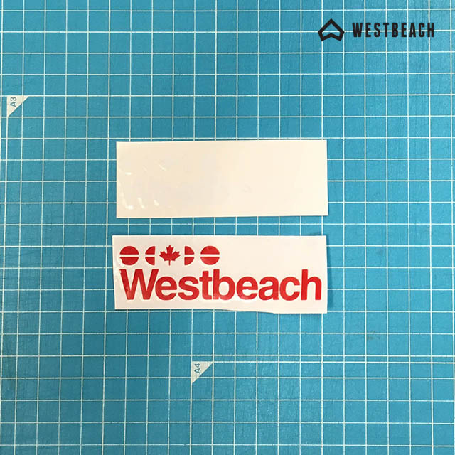 WESTBEACH CLASSIC STICKER -ロゴダイカット小 セット(REDx1/WHITEx1)
