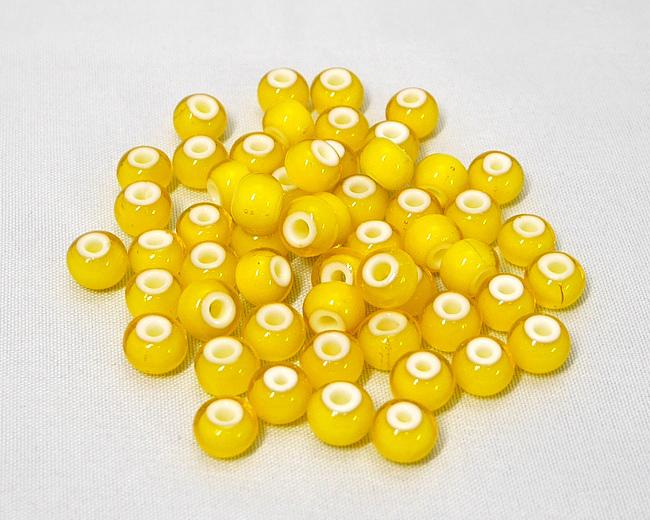 ホワイトハーツビーズ 黄色 丸8mm H2737WH13601