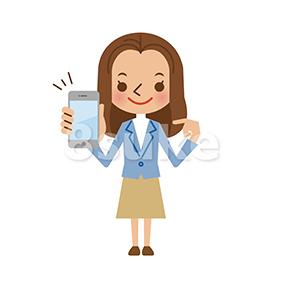 イラスト素材:スマートフォンを持つ若い女性(ベクター・JPG)