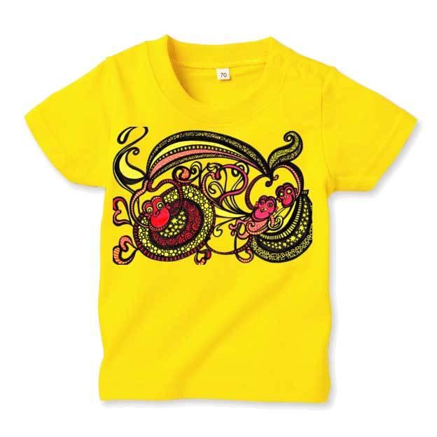 ◆キッズTシャツ 70.80.90サイズ対応◆ ハッピーモンキー イエロー