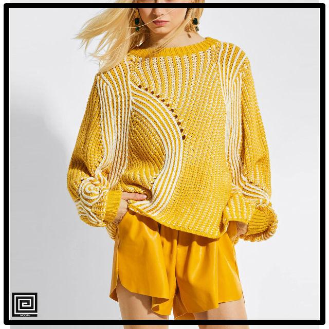 コントラストストライプオープンニットセーター
