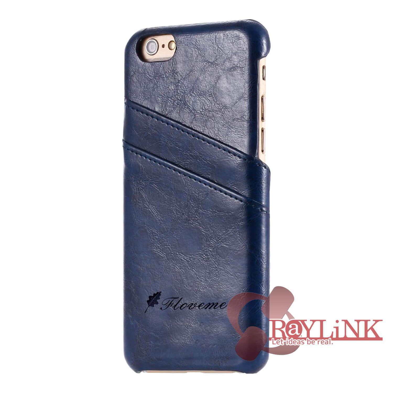 【スマホケース】iPhone7Plus用レザーケース カード入れ付き ブルー