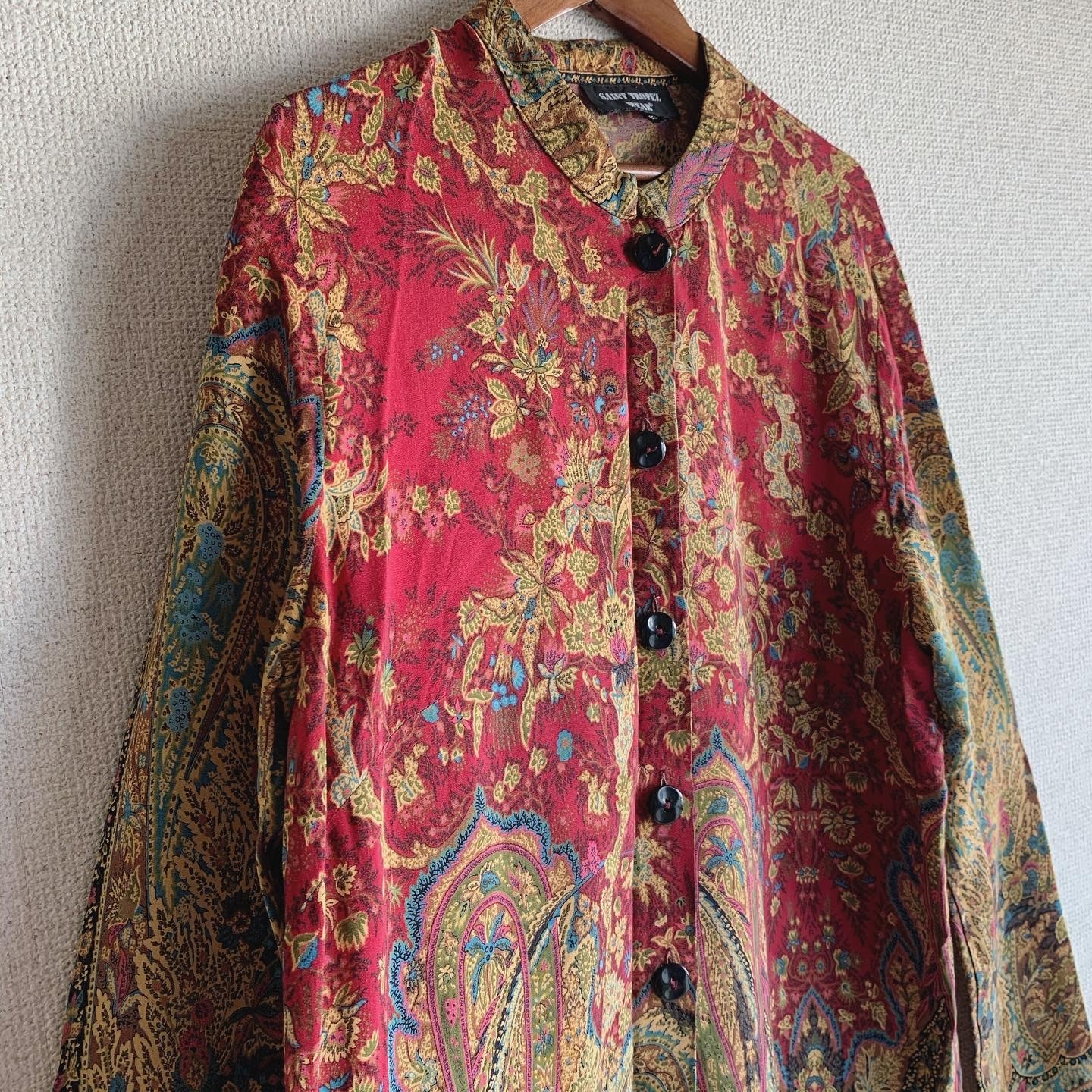vintage standcollar paisley tops