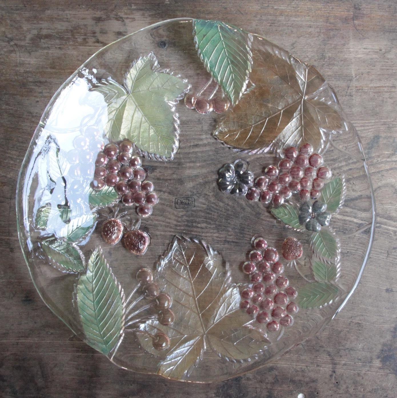 大塚ガラス 昭和レトロな色付きフルーツ柄 大皿