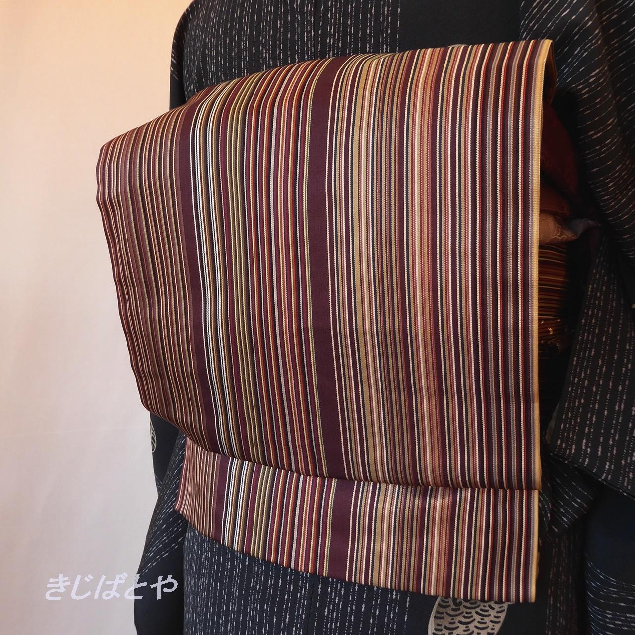 正絹 臙脂の縞のなごや