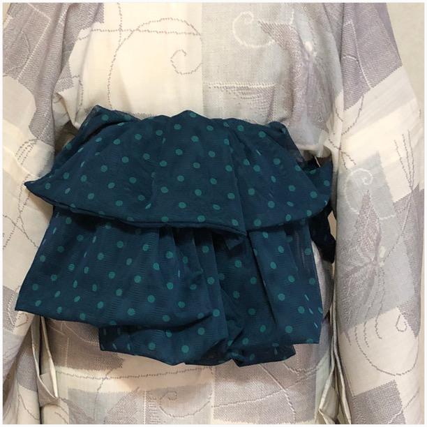 ★ オトナ 兵児帯 シフォン 緑 ドット 水玉 ★ 2782e