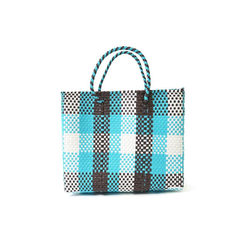 MERCADO BAG 3CHECK - Light Blue x Brown x White(XS)