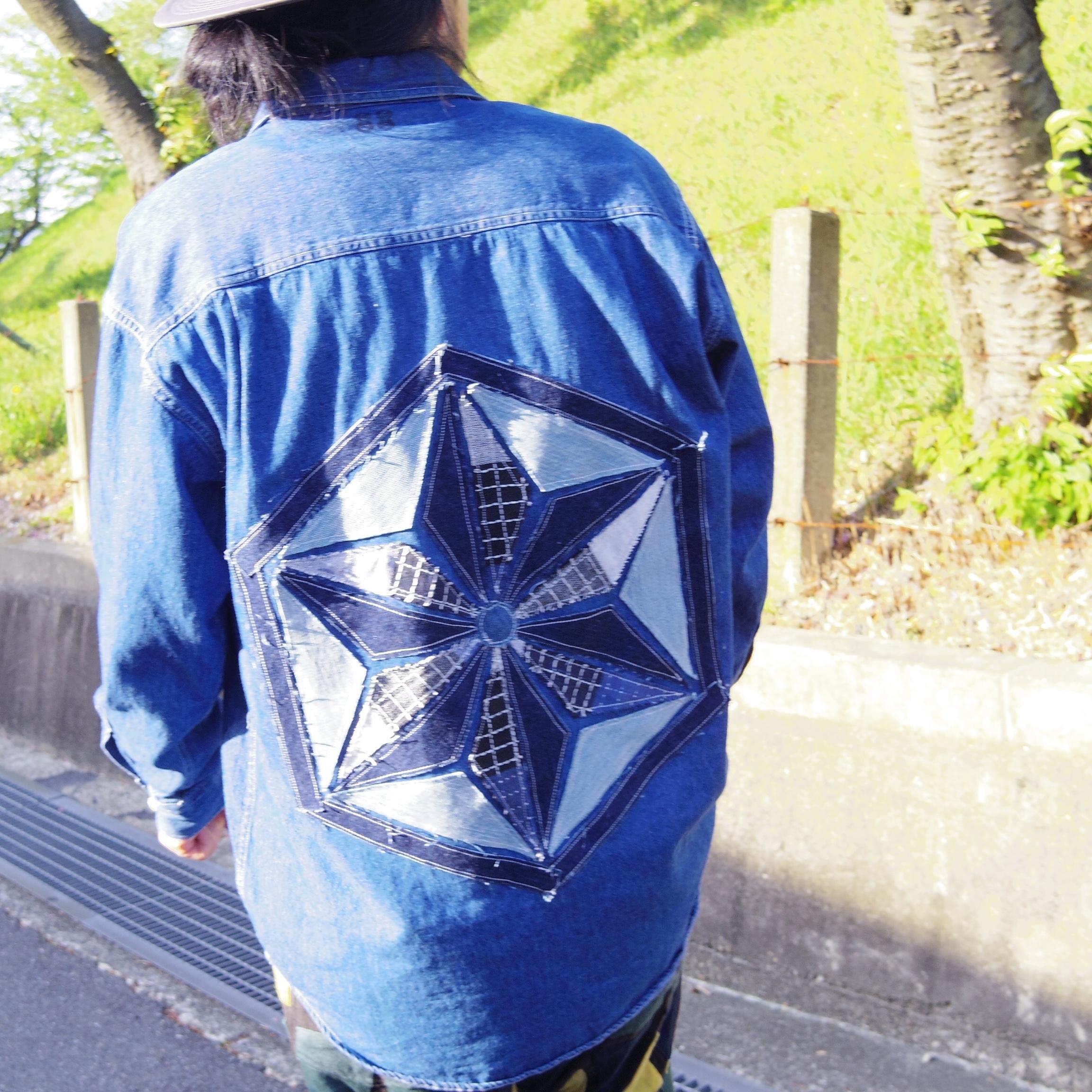 TKHOME FACTORY 麻柄 patchwork denim shirt (L)size デニムシャツ パッチワーク 麻の葉