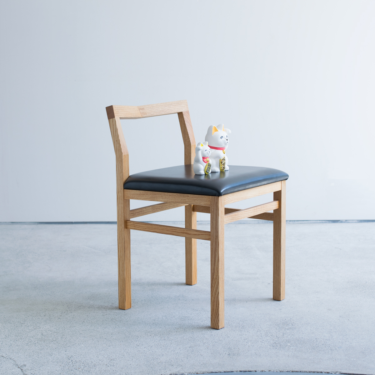 Pico Chair + leather seat / タモ