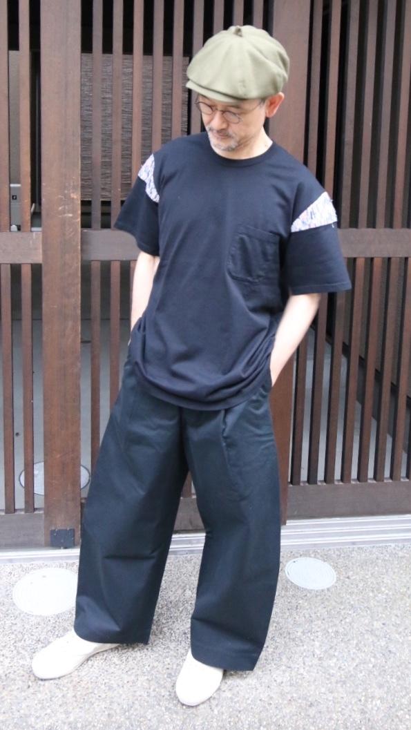 KUON/クオン 裂織りショルダーTシャツ BLACK ♯1902-CS03