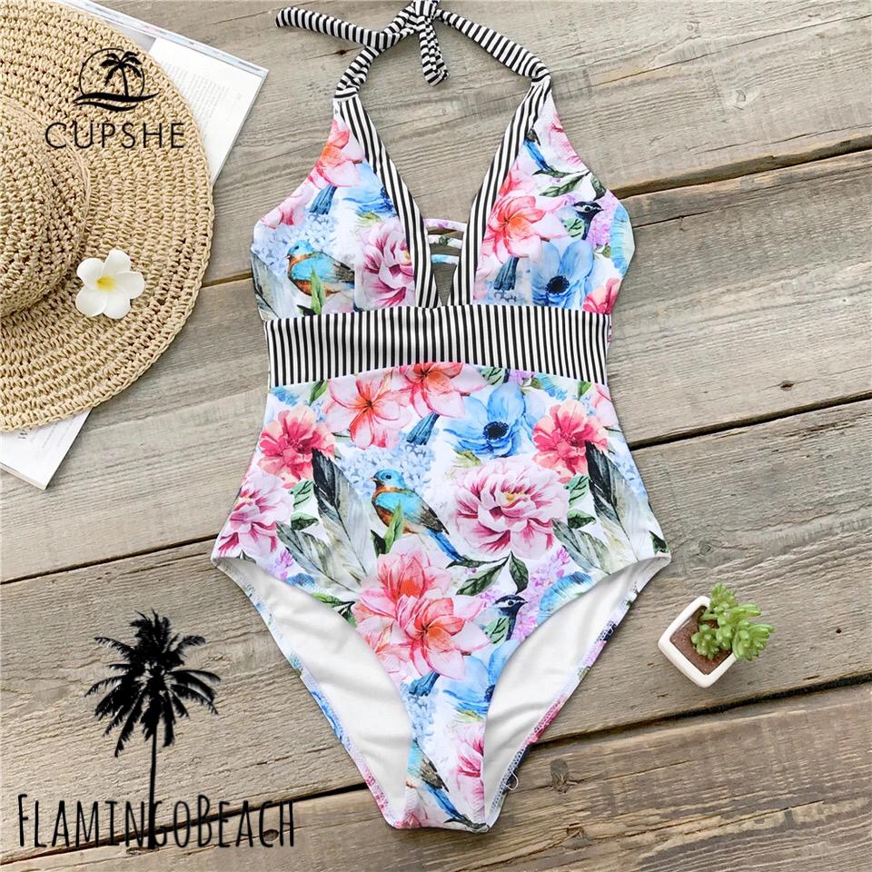 【FlamingoBeach】flower stripe monokini
