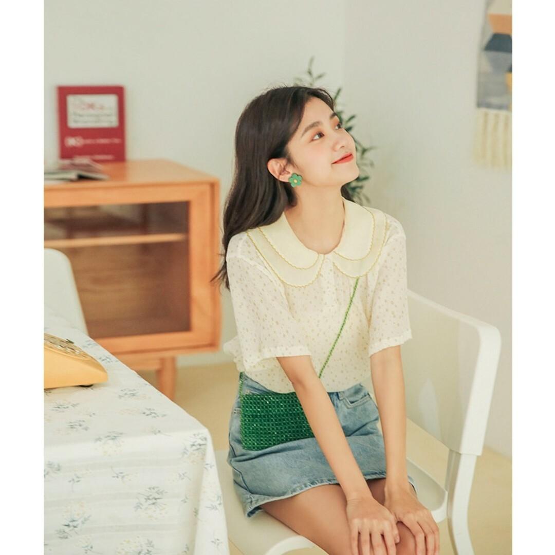 【送料無料】シフォン フリル襟 花柄 半袖カットソー B19050601