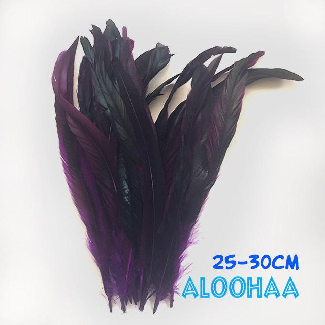 ロングフェザー 【紫】25~30cm タヒチアン 衣装 材料 ルースターテール 染め 羽根