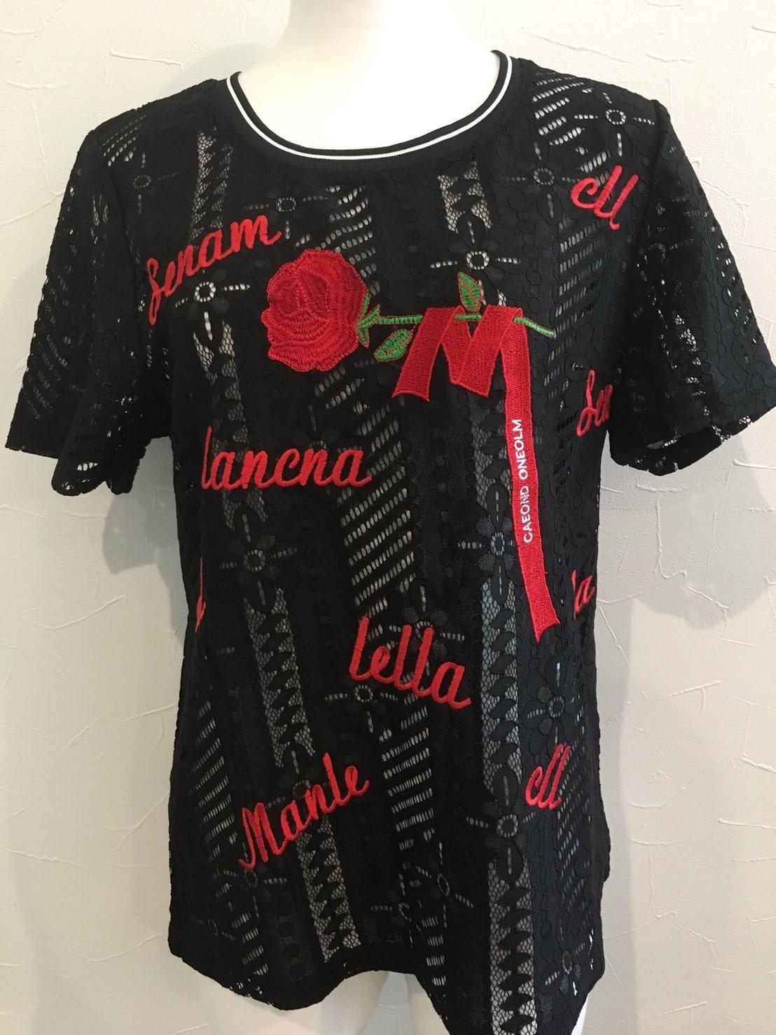 【在庫限り】バラ×英字刺繍レースTシャツ