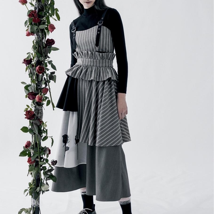 antique rose flare skirt