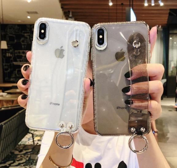 【お取り寄せ商品、送料無料】4カラー クリア  ソフト バンド付 iPhoneケース