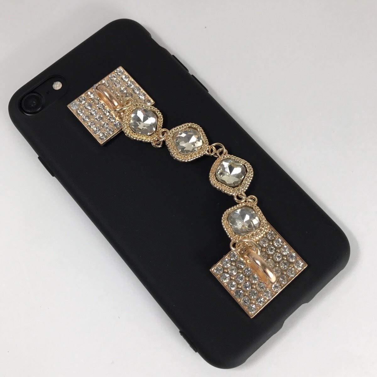 【送料無料】ブラックソフトケースにシンプルジュエリーを iPhoneケース